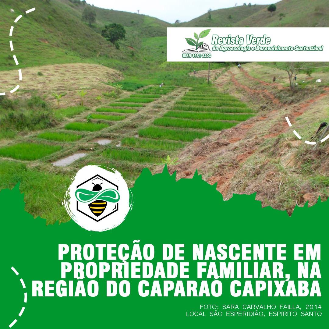 Proteção de nascente e o curso d'água e sua relação com a qualidade ambiental em propriedade familiar, na região do Caparaó capixaba